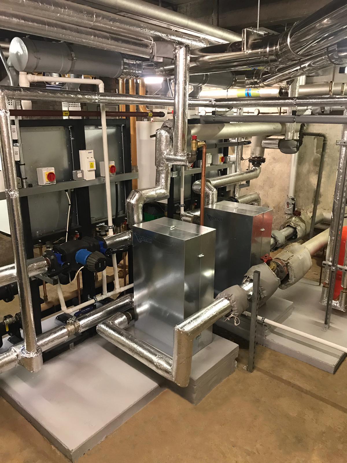 Rear of school Plant Room Showing Heat exchangers